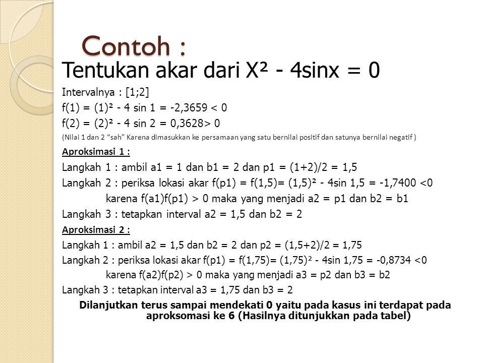 Contoh : Tentukan akar dari X² - 4sinx = 0 Intervalnya : [1;2]